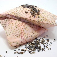Organic Lavender, Chamomile, Rosemary Eye Pillow, yoga, spa, travel, birthday, bachlorette - spotted pink cotton, washable slip cover