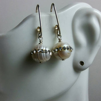 White Pearls with Delicate Encrusted Crystals, dangle & drop earrings, HipChickJewelry