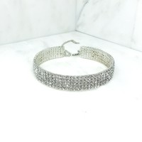 Indie XO Simple Elegance 5 Row Sparkling Crystal Rhinestone Silver Lobster Clasp Choker Necklace