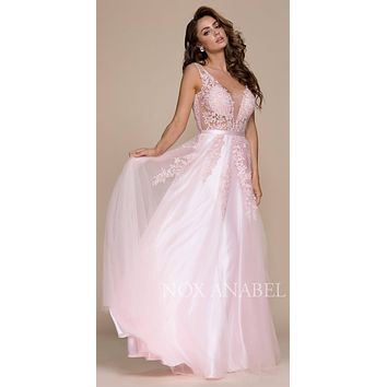 Tulle A-line Long Prom Dress with Appliqued Illusion Bodice Blush
