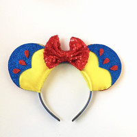 Snow White Disney Inspired Ears, Snow White Mickey Ears,Snow White Inspired Ears Headband,Disney Inspired Snow White Ears, Mickey Mouse Ears
