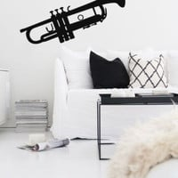Wall Decal Vinyl Sticker Trumpet Jazz Instrument Music Horn Bedroom r1364