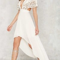 Nasty Gal Artemis Embellished Cape Dress