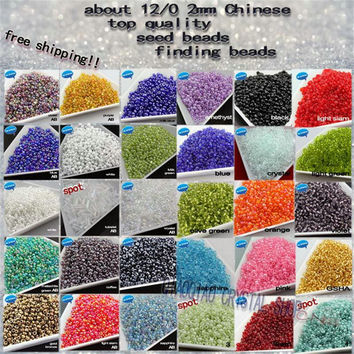 HOT 1800-2000pcs lot 2mm 18 Colors Glass Seed Spacer Beads Jewelry Making DIY Free shipping.