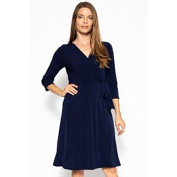 Midi Wrap Dress With A Belted Waist
