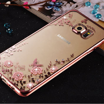 Luxury diamond flowers pattern back cover soft TPU Phone case For For Samsung Galaxy S5 S6 edge Plus S7 edge Note 3 4 5