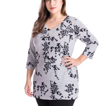 Women's Plus Size Butterfly Printed Tunic Top Cashmere Touch V-Neck