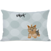 """Pup Words Yorkie"" Indoor Throw Pillow by April Heather Art, 14""x20"""