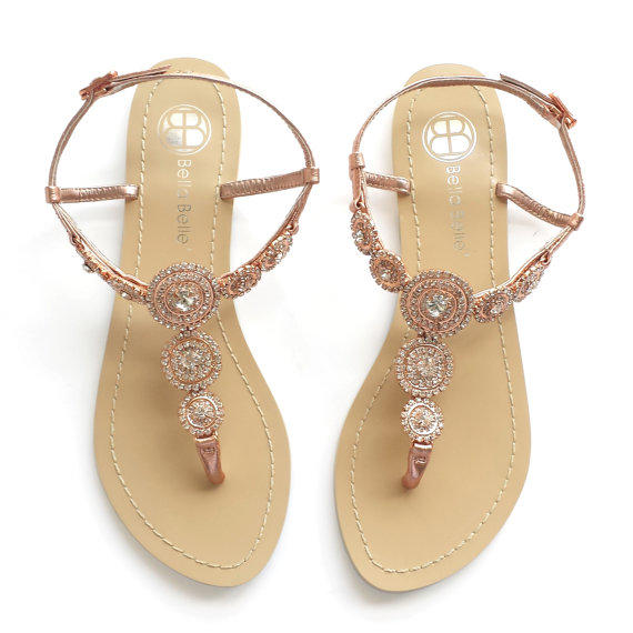 Rose Gold Bohemian Wedding Sandals With From Bellabelleshoe On