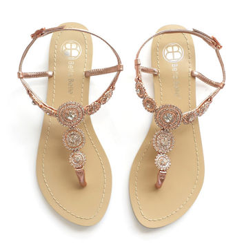 Rose Gold Bohemian Wedding Sandals with Round Crystals Jewels Bridal Thong Shoes Destination Beach Wedding Something Blue