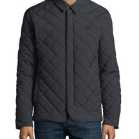 Quilted Button-Up Jacket, Charcoal, Size: