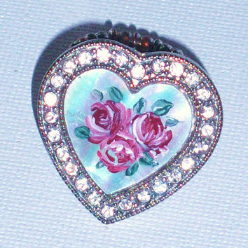 Victorian Heart Ring Hand Paint Rose Floral Statement Flower Mother of Pearl Rhinestone Ring