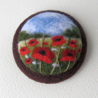 Needle felted brooch  with embroidery,Wool felt  brooch,Poppy flower brooch,Gift ideas,For her,felted landscapes