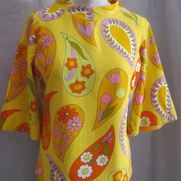 Vintage 60s PSYCHEDELIC Hippie BLOUSE Top Tunic Flower Power Paisley Cotton Shirt Top  Size Large Bust 44""