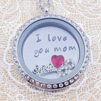 Mother of the Bride Floating Locket, Mother of the Bride Necklace, Mother of Bride Gift, Mother's Necklace, Wedding Jewelry, Hand Stamped