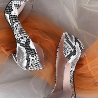 Qupid Snake Pointy Toe Clear Inset Dorsay Stiletto Pump