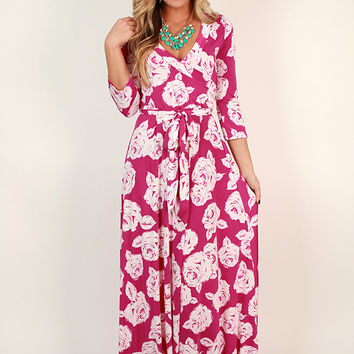 Fields Of Pretty Maxi Dress in Berry