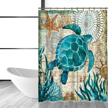 Sea Turtle Waterproof Shower Curtain