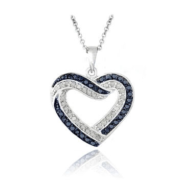 Black or Blue & White Diamond Open Heart Necklace