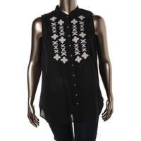 Style & Co. Womens Plus Cotton Beaded Button-Down Top