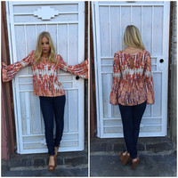 Rust Direction Bell Sleeve Blouse