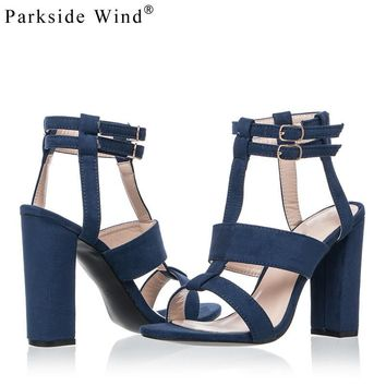 Parkside Wind Suede Leather Girl's Heel-strap Sandals 5-8cm Navy Female High Heels Sho