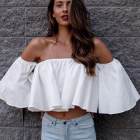 Sexy Shoulderless Flare Sleeve Tank Tops Off Shoulder Tee Shirt Crop Top