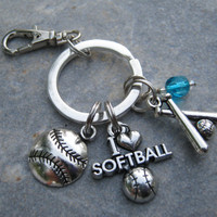 I Love Softball Keychain, Softball Zipper Pull,  Personalized Accessory, Athletic Keychain Lanyard, Softball Player Gift, Sports Inspired