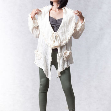 NO.121 Off-White Cotton Long Sleeve Waterfall Cardigan, Ruffled Trim Jacket