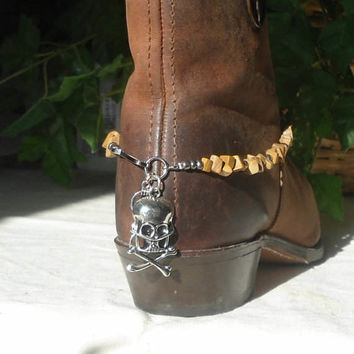 "Steampunk Boot Bracelet Skull Jewelry Rustic Brown Jasper Beads Cowgirl Bling Handmade Beaded Indie Fashion Sundance 15"" to 16.75"". SALE"