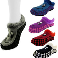 J-Ann Ladies Knitted Home Slipper-Smily face/ checkerd, 9-11 Case Pack 24