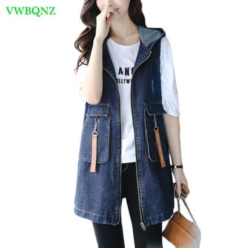 Trendy Spring Autumn Embroidery Denim Vest Women Loose Long Jeans Horse clips Women's Fashion Hooded Plus size Denim Jacket Cool A370 AT_94_13