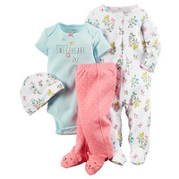 Carter's Girls 4 Piece White Floral Print Footie with Hat, Light Blue Slogan Bodysuit and Pink Polka Dot Footed Pant