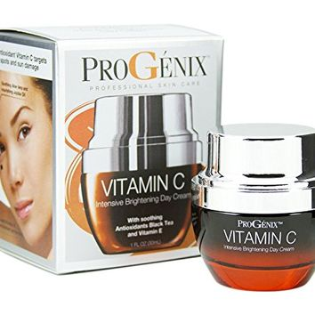 Progenix Vitamin C Intensive Brightening Day Cream for dark spots, age spots, and uneven skin tone. 1oz.