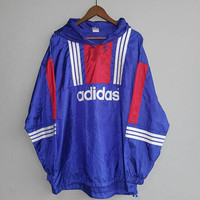 Blue white 3 stripes red ADIDAS equipment spell out run dmc big logo nylon pullover jacket for training running nylon hoodie size L
