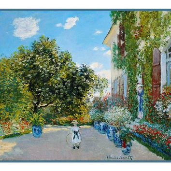 The Artists House in Argenteuil inspired by Claude Monet's impressionist painting Counted Cross Stitch or Counted Needlepoint Pattern
