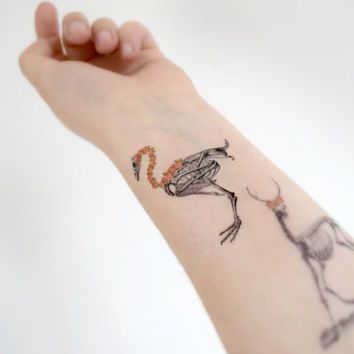Floral Skeleton temporary tattoo - Ink, Colourful, Flower, Rose, Bird, Deer, Woodland, Halloween