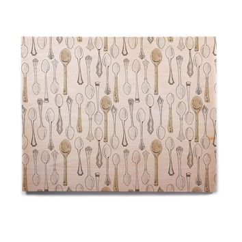 "Stephanie Vaeth ""Spoons"" White Gray Birchwood Wall Art"