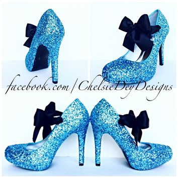 Aqua Glitter High Heels, Turquoise Blue Platform Prom Pumps with Black Bows