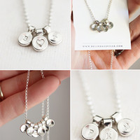 Sterling silver initial necklace, personalized necklace, gift for her, gift under 100, name necklace, personalised, pebble, typography