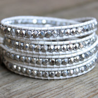 Beaded Leather Wrap Bracelet 4 Wrap with Silver Tone and Clear Crystal Czech Glass Beads on White Leather Bridal Wedding Bracelet