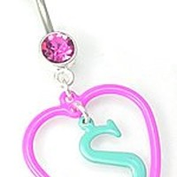 "14g 7/16"" Sweet Heart Dangle Belly Button Ring - ON SALE"