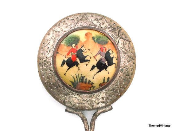 Vintage Mirror Hand Painted Enamel Plated From