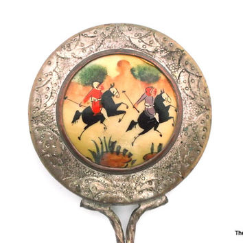 Vintage mirror hand painted enamel plated brass twisted wire handle Asian polo horses