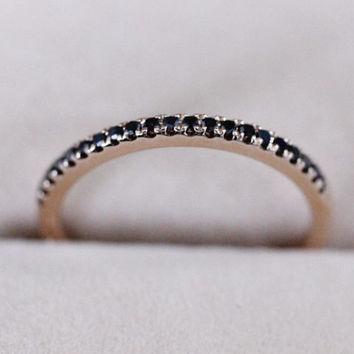 Pave Black Diamond Ring Wedding Band Solid 14K Rose Gold Ring Half Eternity Band Diamond Engagement Ring Wedding Ring