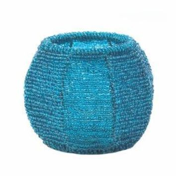Sky Blue Beaded Candle Holder