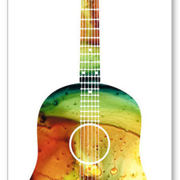 Acoustic Guitar Bold Art Print from Painting Colorful Music Musical Instrument Country CANVAS Ready To Hang Large Artwork FREE Shipping S/H