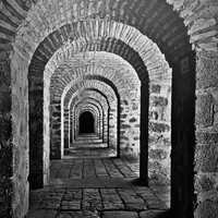 Travel Photography 'Arches of a Caravansary in Black and White' Fine Art Print Silk Road Photo Caravansary Azerbaijan Azeri