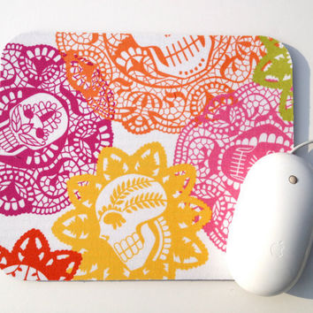 Sugar Skull Mouse Pad / Papel Bonito Natural / Day of the Dead / Office Home Decor / Alexander Henry