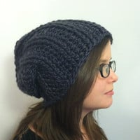 Unisex Ribbed Grey Slouchy Hat